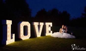 Żarówkowe Love napis led Love na wesele, Napis Love Opalenica