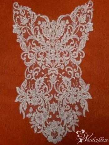 Koronki ślubne, aplikacje, hafty do sukni ślubnej, welony na zamówieni, Artykuły ślubne Kartuzy