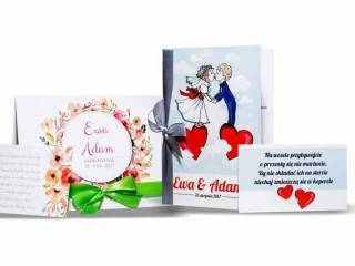 InviteYou - nowoczesne zaproszenia ślubne z wstążką, wkładką i kopertą,  Krosno