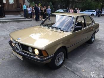 Złote klasyczne BMW, Samochód, auto do ślubu, limuzyna Łódź