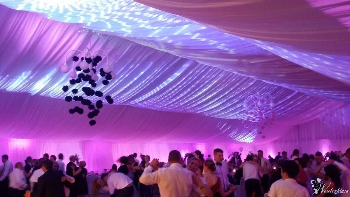 Dekoracja światłem sal weselnych, namiotów, LOGO projektor, ciężki dym, Zamość - zdjęcie 1