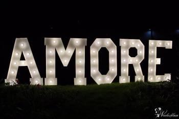 Napis AMORE 120cm wesele, sesja, ślub plenerowy, Dekoracje światłem Pruszków