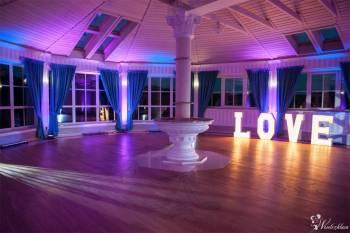Napis LOVE, Dekoracja sali światłem, Dekoracje światłem Proszowice