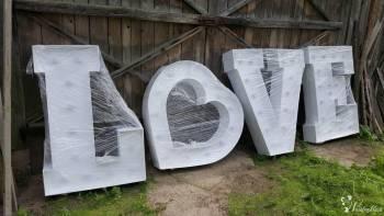 LOVE , MIŁOŚĆ , MR&MRS; AMORE; serce lub Wasze inicjały - Great Time, Napis Love Kosów Lacki