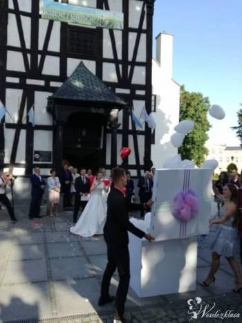 Balony z helem, pudło prezentowe na impreze np; wesele , urodziny itp., Balony, bańki mydlane Milicz