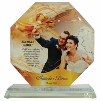 Podziękowania dla rodziców Szklana statuetka z nadrukowanym zdjęciem, Prezenty ślubne Zagórz