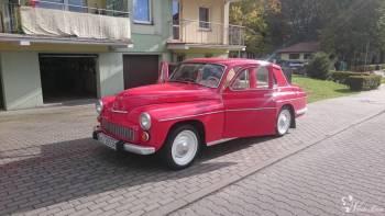 Wyjątkowa *Warszawa* do ślubu w kolorze czerwonym, Samochód, auto do ślubu, limuzyna Braniewo