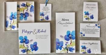 Zaproszenia na ślub, ślubne - kwiatowe, w etui, w pudełkach, Zaproszenia ślubne Tuczno