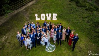 Film zdjęcia z DRONA - wyjście z kościoła,przyjazd  + Fotobudka + LOVE, Kamerzysta na wesele Prabuty