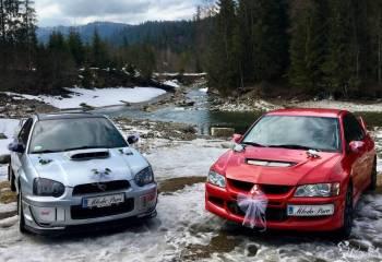 Rajdowe Legendy Subaru Impreza STI oraz Mitsubishi Lancer Evo do ślubu, Samochód, auto do ślubu, limuzyna Zakopane