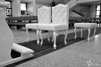 Meble ślubne, krzesła, klęcznik, biały dywan, Artykuły ślubne Głuchołazy