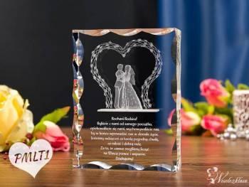 Kryształy3D | statuetki ze wzorem 3D | PODZIĘKOWANIA DLA RODZICÓW, Prezenty ślubne Łomża