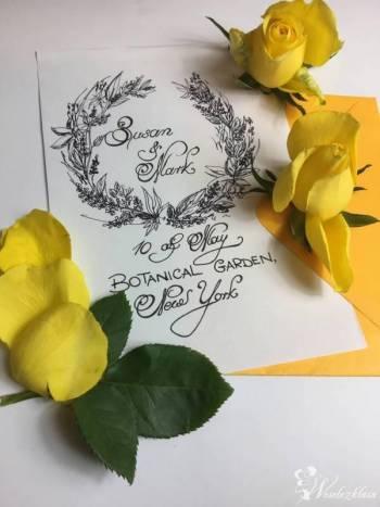 Kaligrafia weselna,zaproszenia,tablice gości,koperty i inne elementy., Zaproszenia ślubne Zakroczym