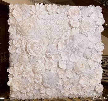 Ścianka kwiatowa - CHANEL *Biała* - Łuki z kwiatów - Ścianka z kwiatów, Dekoracje ślubne Żarki