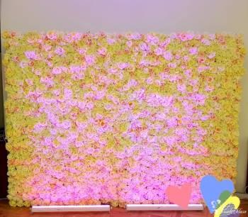 Ścianka Kwiatowa Flower Wall Jasna, Ecru, Pudrowy Róż Wynajem, Dekoracje ślubne Hajnówka