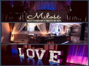 WedLed - dekoracje świetlne, napis Miłość, LOVE, ciężki dym, Dekoracje światłem Czyżew