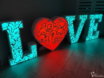 Ażurowy napis LOVE, Serce LED - wynajem!, Napis Love Bydgoszcz