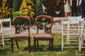 krzesła do ślubu, złote podtalerze, dodatki, Artykuły ślubne Bytom