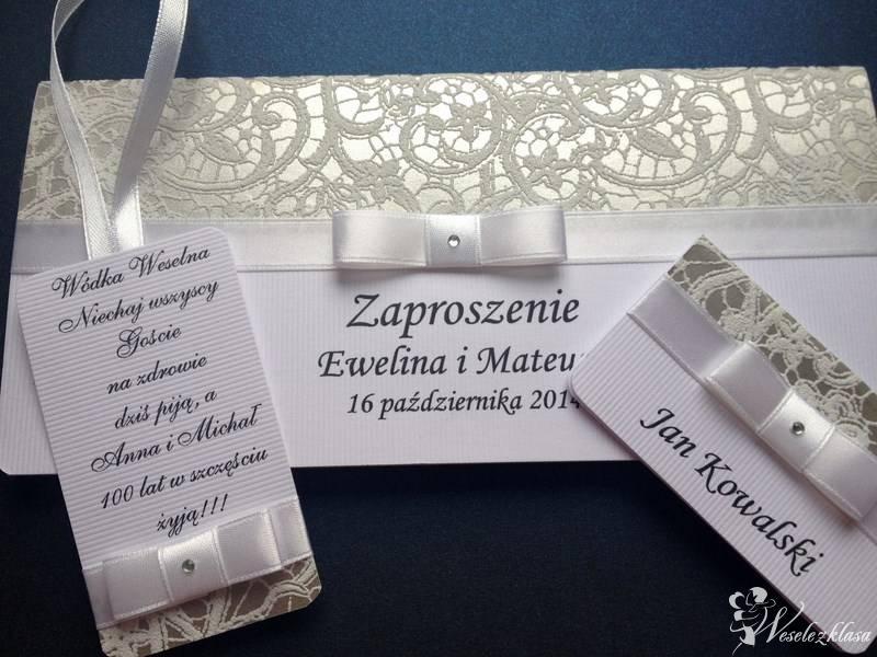 Zaproszenia, winietki, zawieszki, menu weselne, Bydgoszcz - zdjęcie 1
