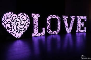 Ażurowy napis LOVE, SERCE LED, Fotolustro, ciężki dym - wynajem!, Napis Love Warka