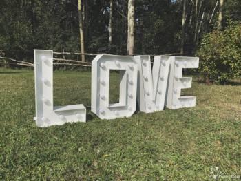 świecący napis LOVE dwa rozmiary wynajem tanio !!, Napis Love Czeladź