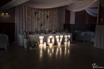 Dekoracje sal weselnych dekoracje ślubne, dekoracje światłem led, LOVE, Dekoracje ślubne Dobczyce