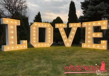 Wielkie Litery 3D, Napis LOVE LED Wynajem na wesele, ślub, eventy., Dekoracje ślubne Wąsosz