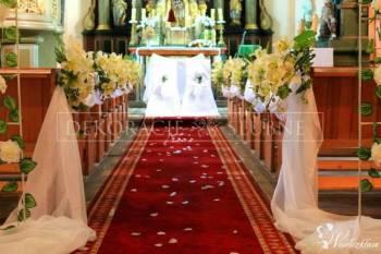 Dekoracje sal, kościołów - Pokrowce na krzesła., Dekoracje ślubne Zgorzelec