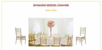 Wynajem Krzeseł Chiavari w kolorze złotym, Dekoracje ślubne Nowa Ruda