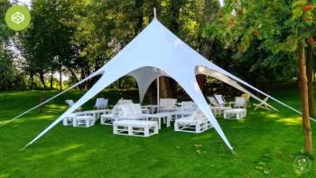 Namiot weselny GWIAZDA / Aranżacja przestrzeni / meble eventowe / W-wa, Wypożyczalnia namiotów Raciąż