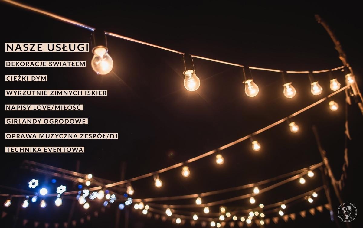 Dekoracje światłem, girlandy, ciężki dym, napis LOVE/MIŁÓŚĆ!, Lublin - zdjęcie 1