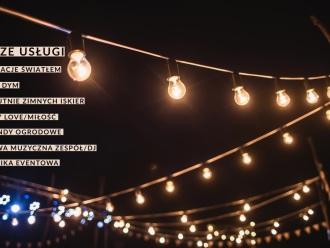 Dekoracje światłem, girlandy, ciężki dym, napis LOVE/MIŁÓŚĆ!, Dekoracje światłem Poniatowa