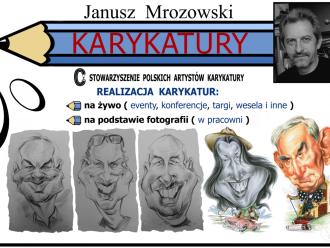 KARYKATURY - JANUSZ MROZOWSKI Rysowanie karykatur na żywo i ze zdjęć.,  Toruń