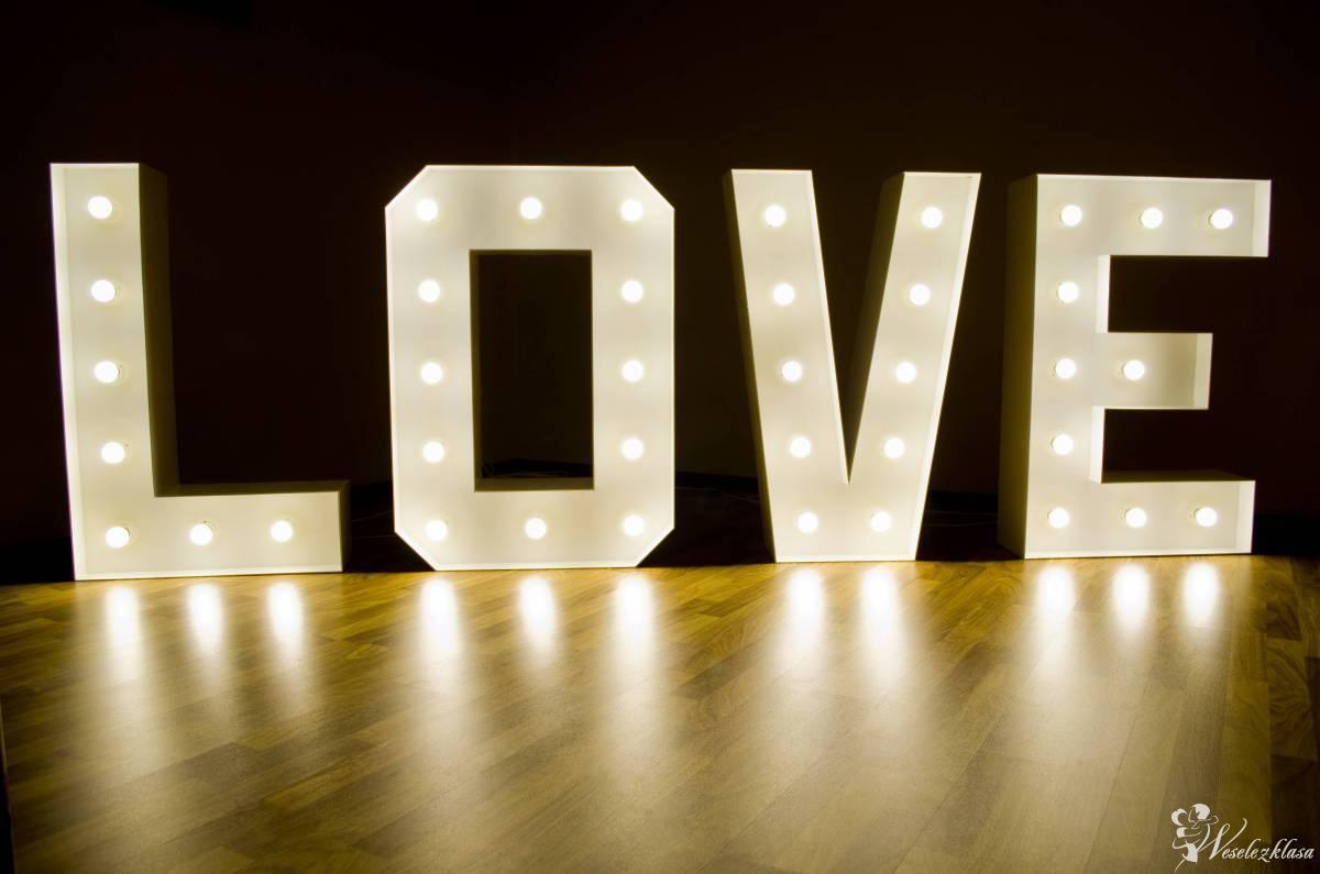 Napis LOVE litery LED, dekoracja na ślub, wesele, rocznice, wynajem, Łódź - zdjęcie 1