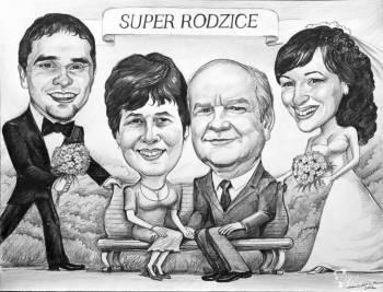Podziękowania dla rodziców- upominki dla  świadków- karykatura, Prezenty ślubne Zakopane