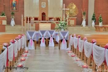 Dekoracje ślubne, kościoła, sal weselnych, auta, biały dywan, Dekoracje ślubne Koluszki