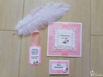 Koronkowy Motylek zaproszenia ślubne, papeteria weselna, Zaproszenia ślubne Miasteczko Śląskie