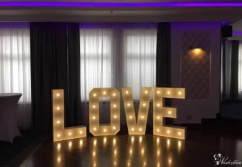 Podświetlany napis LOVE wynajem na wesele, dekoracja wys. 120cm., Dekoracje światłem Siedlce