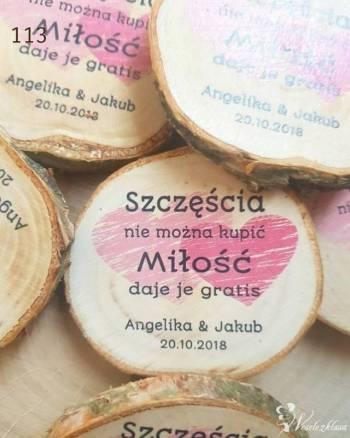 Podziękowania dla gości - plaster brzozy jako magnes, Prezenty ślubne Łaziska Górne