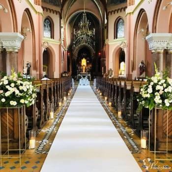 Elegancki dywan na ślub 1,5m x 30m - biały i czerwony, Dekoracje ślubne Myślenice