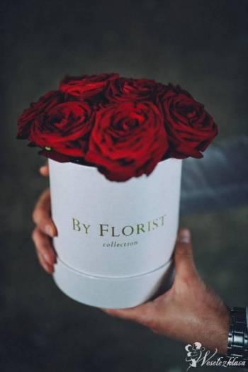 By Florist - bukiety w pudełkach z kwiatów żywych i wiecznych róż, Bukiety ślubne Łódź