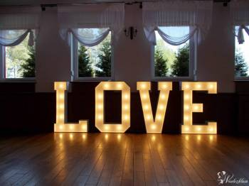 Napis LOVE WYNAJEM, dekoracja światłem FOTO BUDKA!!!, Dekoracje ślubne Pabianice