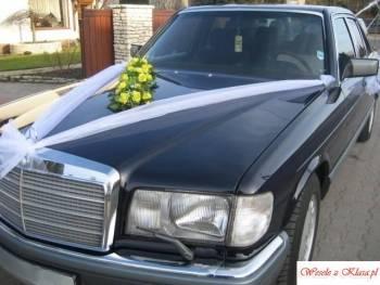 Auto do ślubu, stylowy Mercedes, Samochód, auto do ślubu, limuzyna Łazy