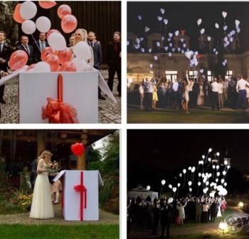 Pudło z balonami z helem,Balony LED,Dekoracja lokalu,Girlandy balonowe, Balony, bańki mydlane Żarki