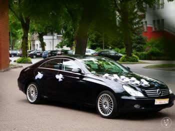 Sportowa limuzyna, czarny merdeces CLS 500 V8, Samochód, auto do ślubu, limuzyna Łobez