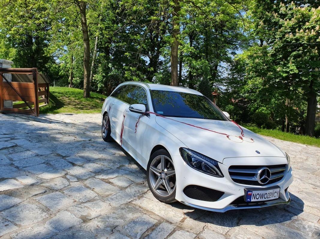 Luksusowy biały Mercedes z bordową skórą na Twój Ślub, Kraków - zdjęcie 1