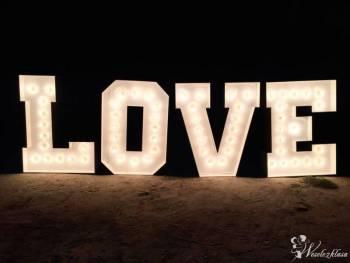 Świecący Napis - litery LOVE Na wesele ślub sesję, Napis Love Kosów Lacki