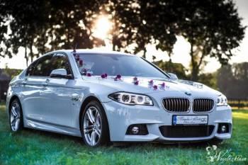 Auto, Limuzyna do ślubu, wesela. *Biała* Limuzyna BMW 5 (F10), Samochód, auto do ślubu, limuzyna Lublin