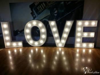 LOVE świecący napis, świetna dekoracja na sali wes, Napis Love Kielce Chmielnik