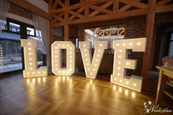 Litery podświetlane LOVE, Dekoracje ślubne Łosice